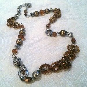 Gold Tone Faceted Amber  Bead Statement Necklace